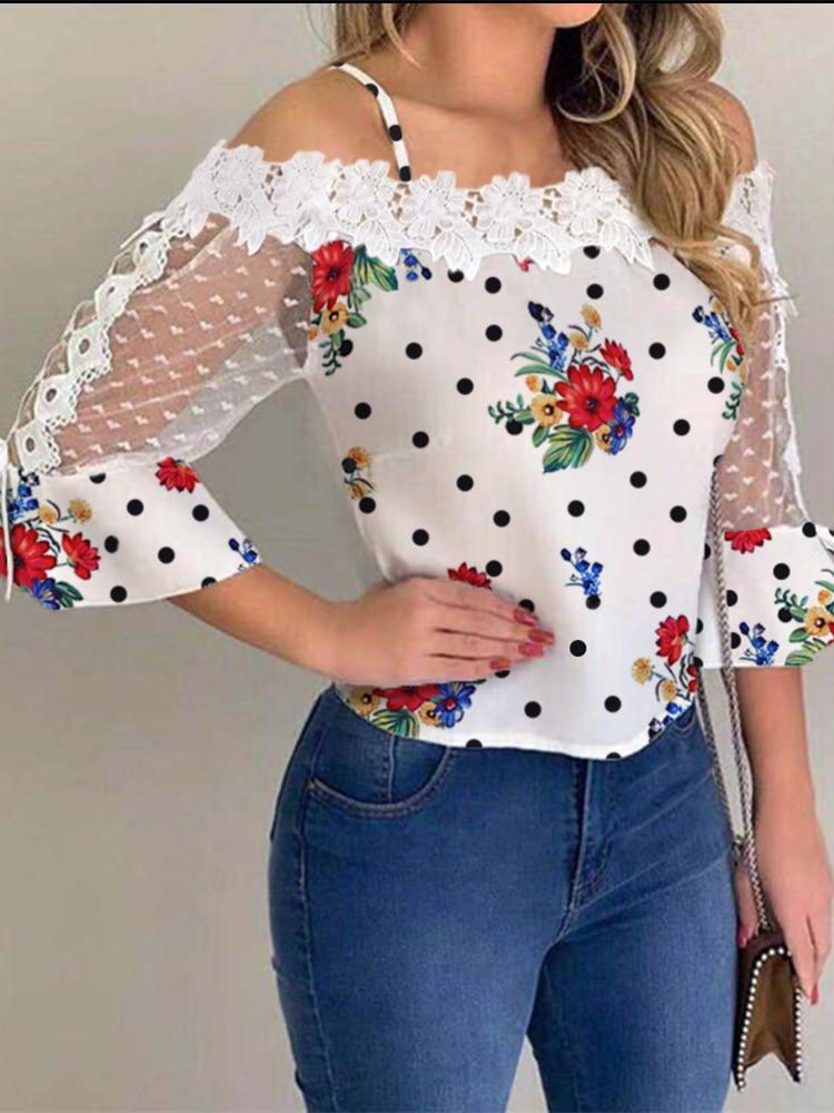 2020 Autumn Fashion Stylish Flower Design Blouse