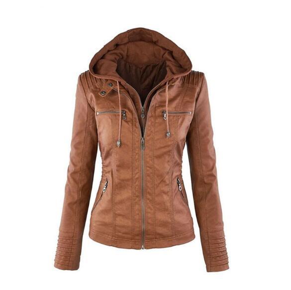 Women's Hooded Leather Jacket