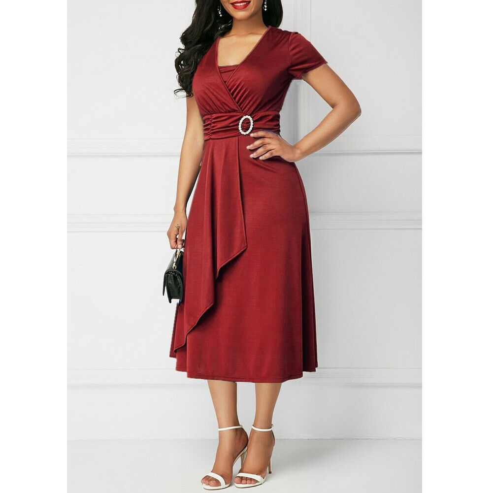 Red Casual Fashion Office Dress