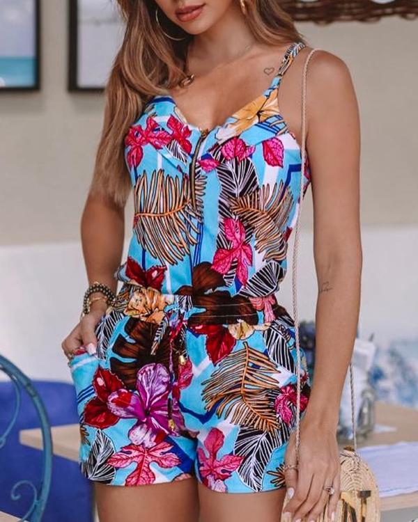 Women Tropical Print New Fashion Spaghetti Strap Dress