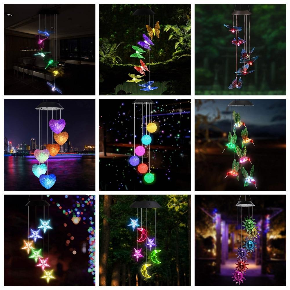 LED Solar Wind Chime Crystal Ball