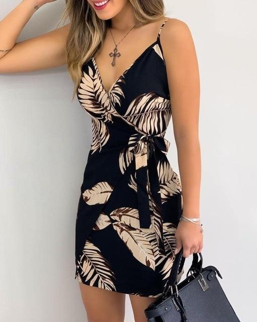 New V Neck Leaf Print Mini Summer Dress
