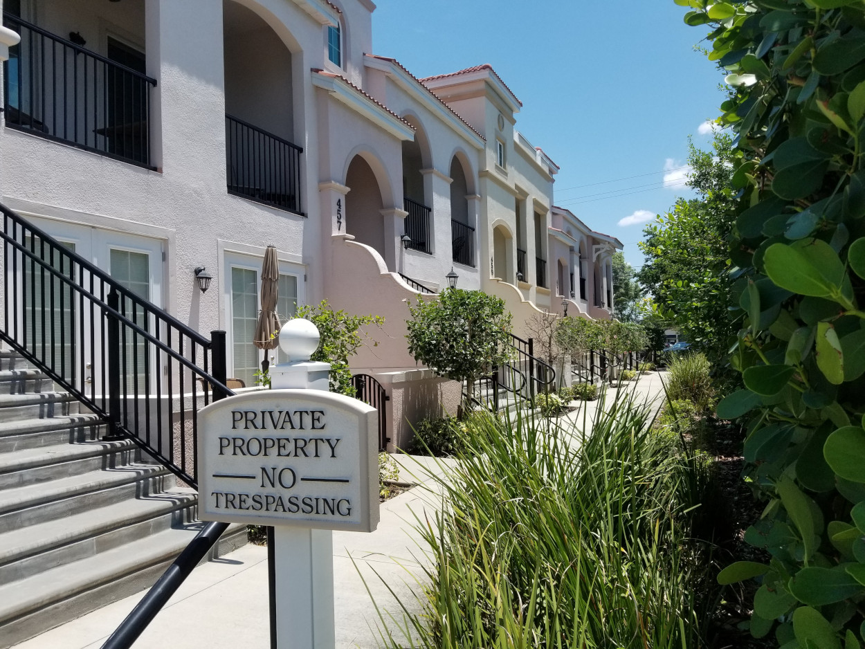 Island Court Outside Private Property