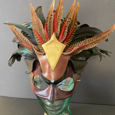 Leather and feather mask from mask artist Dante's Masquerade
