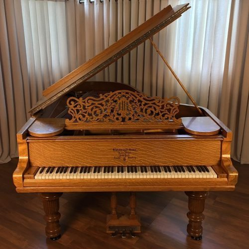 1890 Steinway model C Grand Piano in Quartern Sawn Tiger Oak Victorian Style