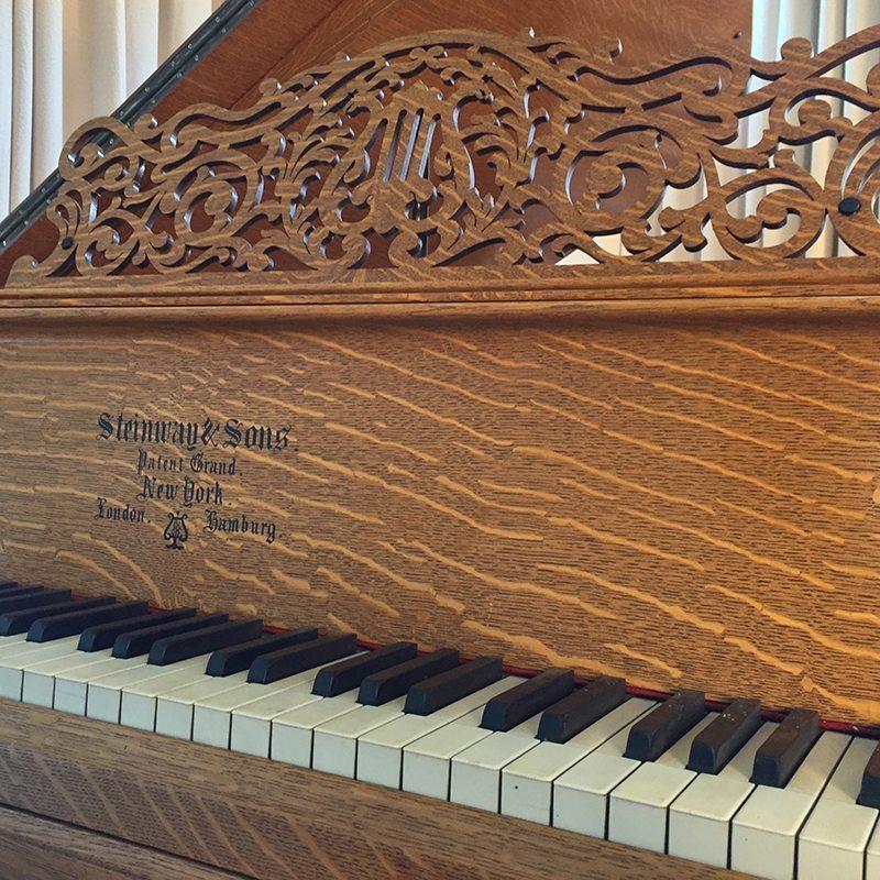 1890 Steinway model C Grand Piano in Quartern Sawn Tiger Oak Victorian Style