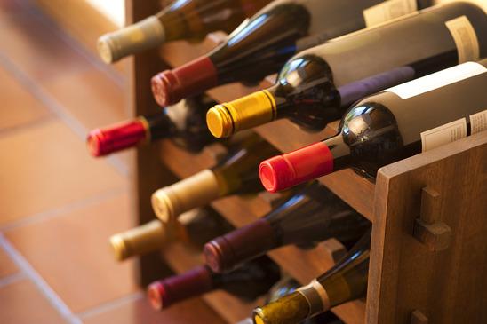 Wine Bottles on Rack