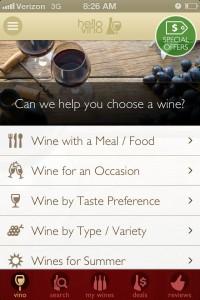 Screenshot of HelloVino Wine App