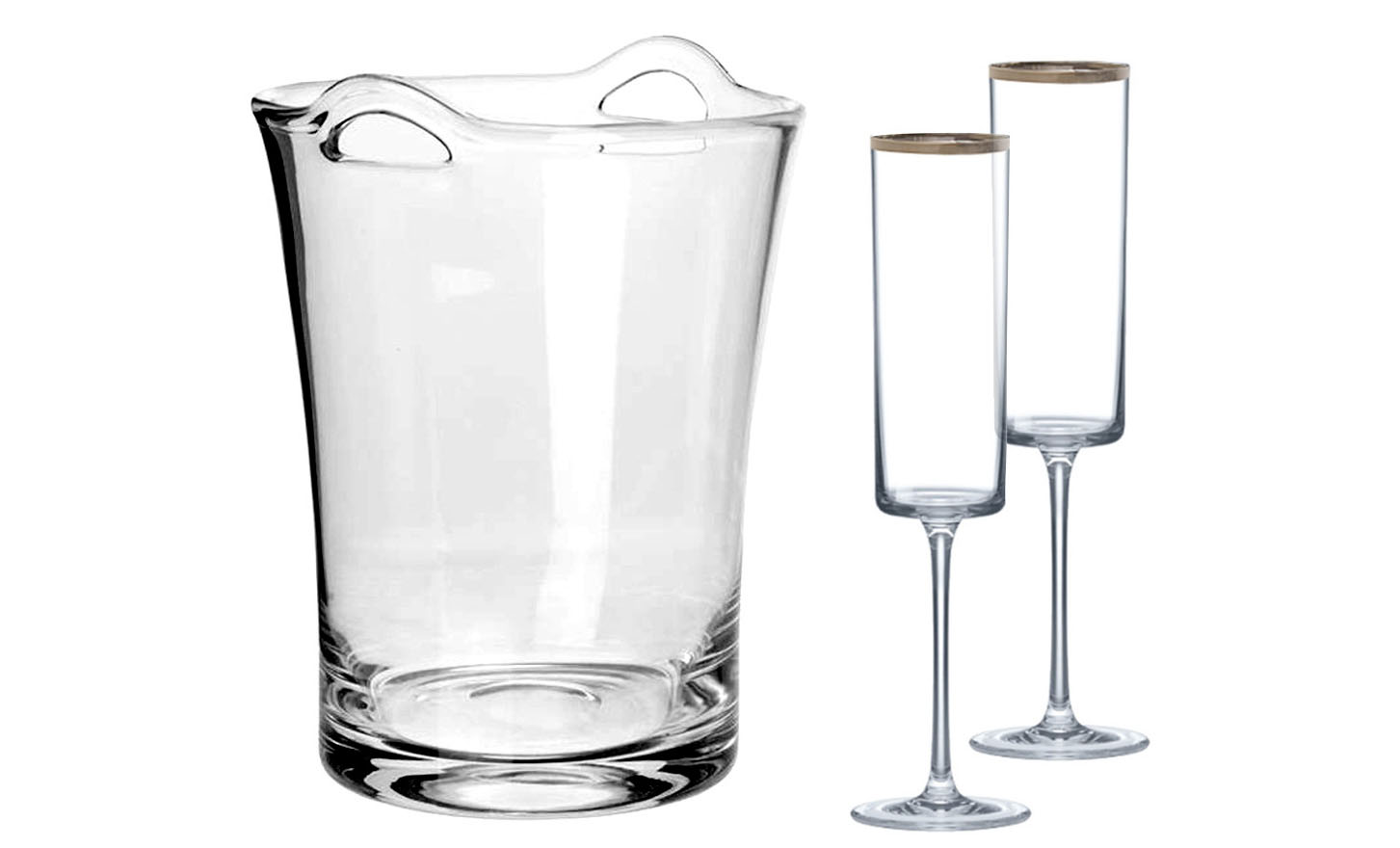 Champagne Flutes and Glass Ice Bucket Set