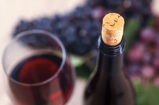 Image: Closeup of wine bottle and cork