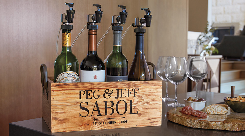 WineKeeper Serving Stations can be personalized with the couple's name
