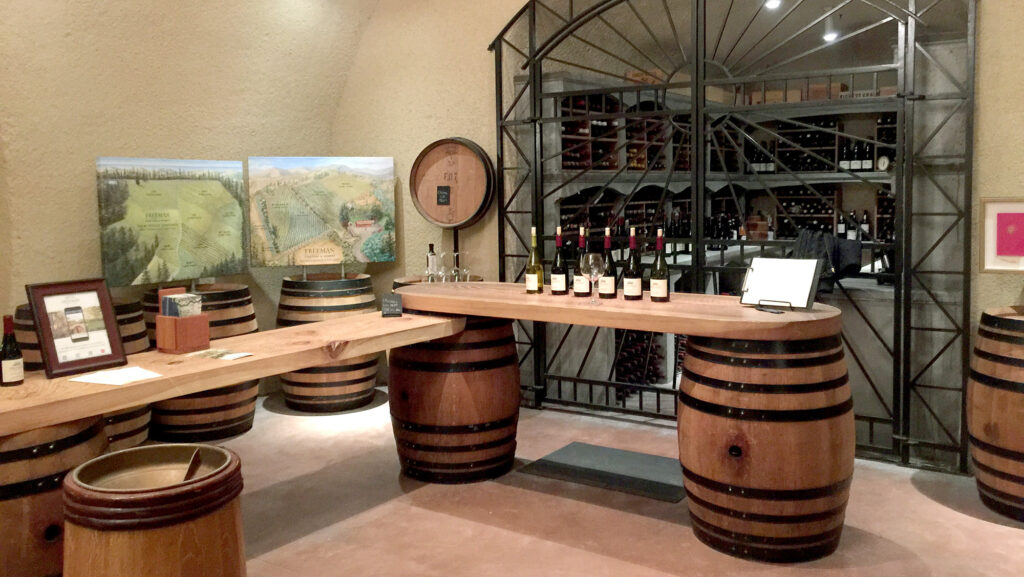 Freeman Vineyard and Winery tasting room in the wine cave