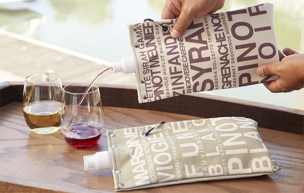 Red & White Canvas Wine Totes