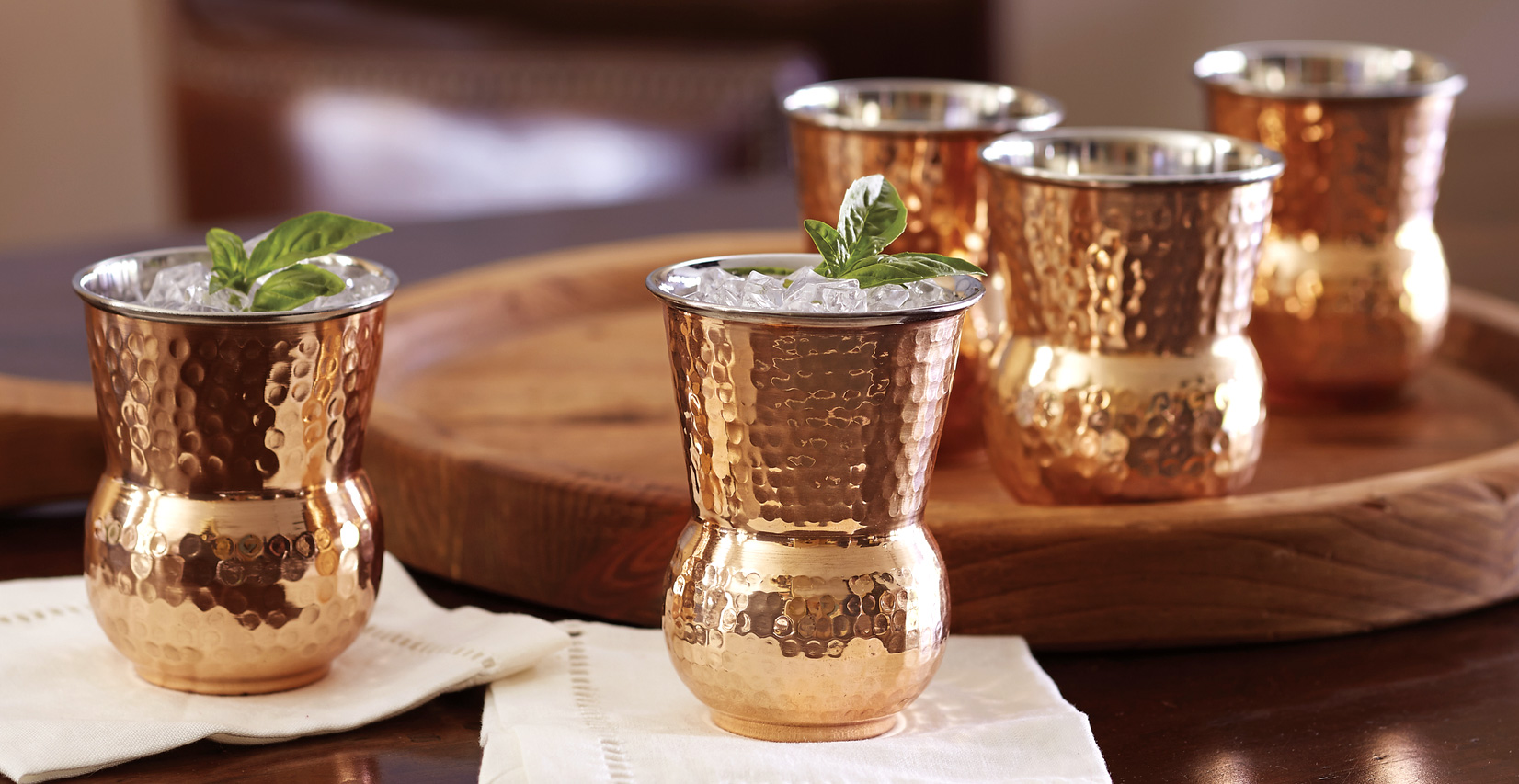 Tuscan Copper Hammered Tumblers
