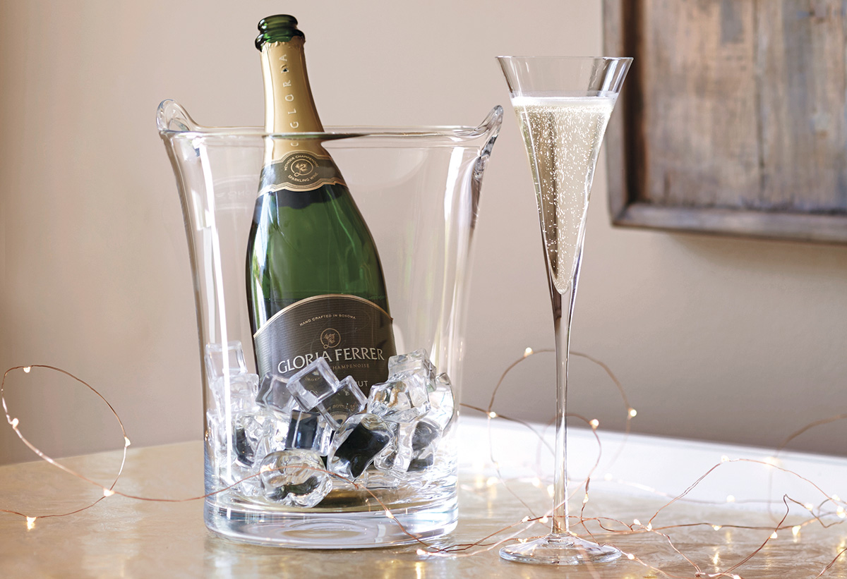 Trumpet Champagne Flutes and Glass Ice Bucket Set