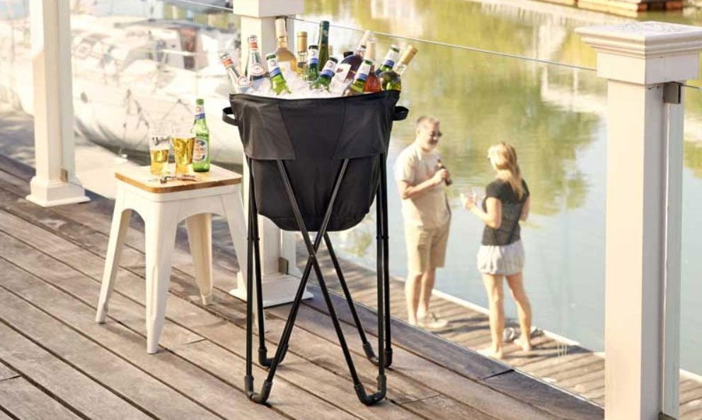 Folding Black Tub Cooler for Wine and Craft Beer