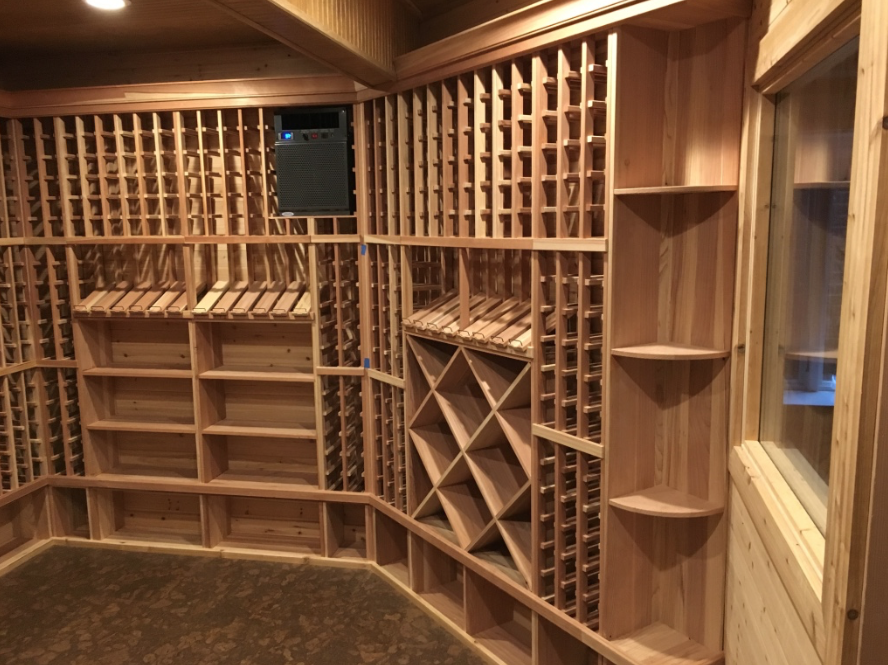 Custom wine cellar with CellarPro cooling unit