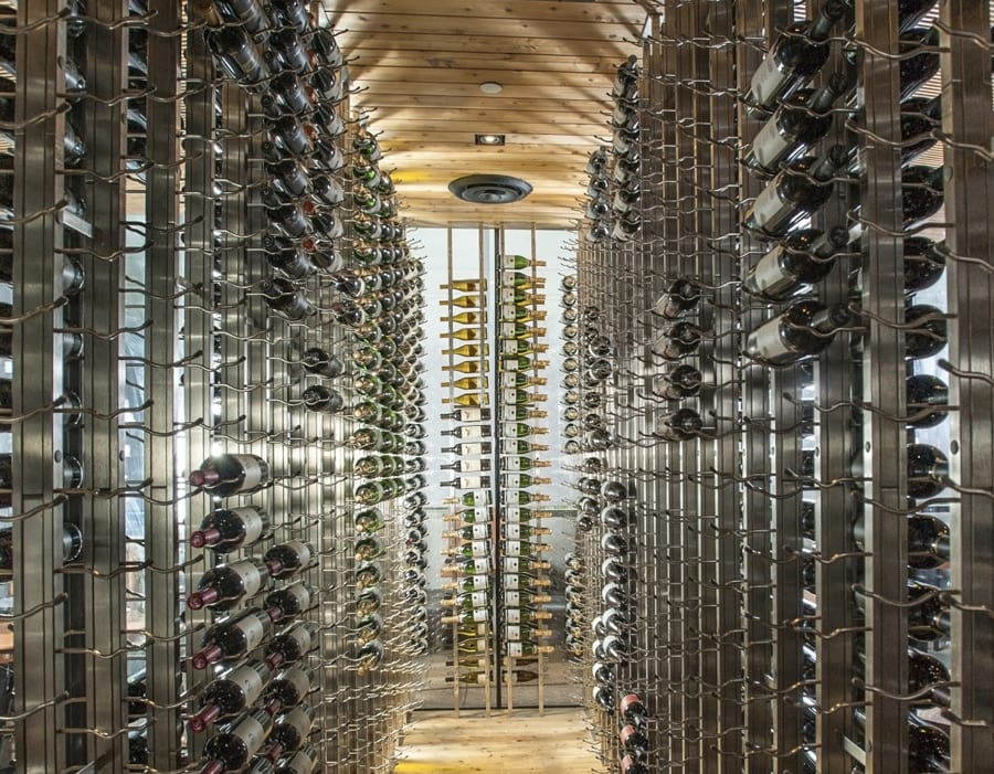 Glass Enclosed Metal Racking Custom Wine Cellar