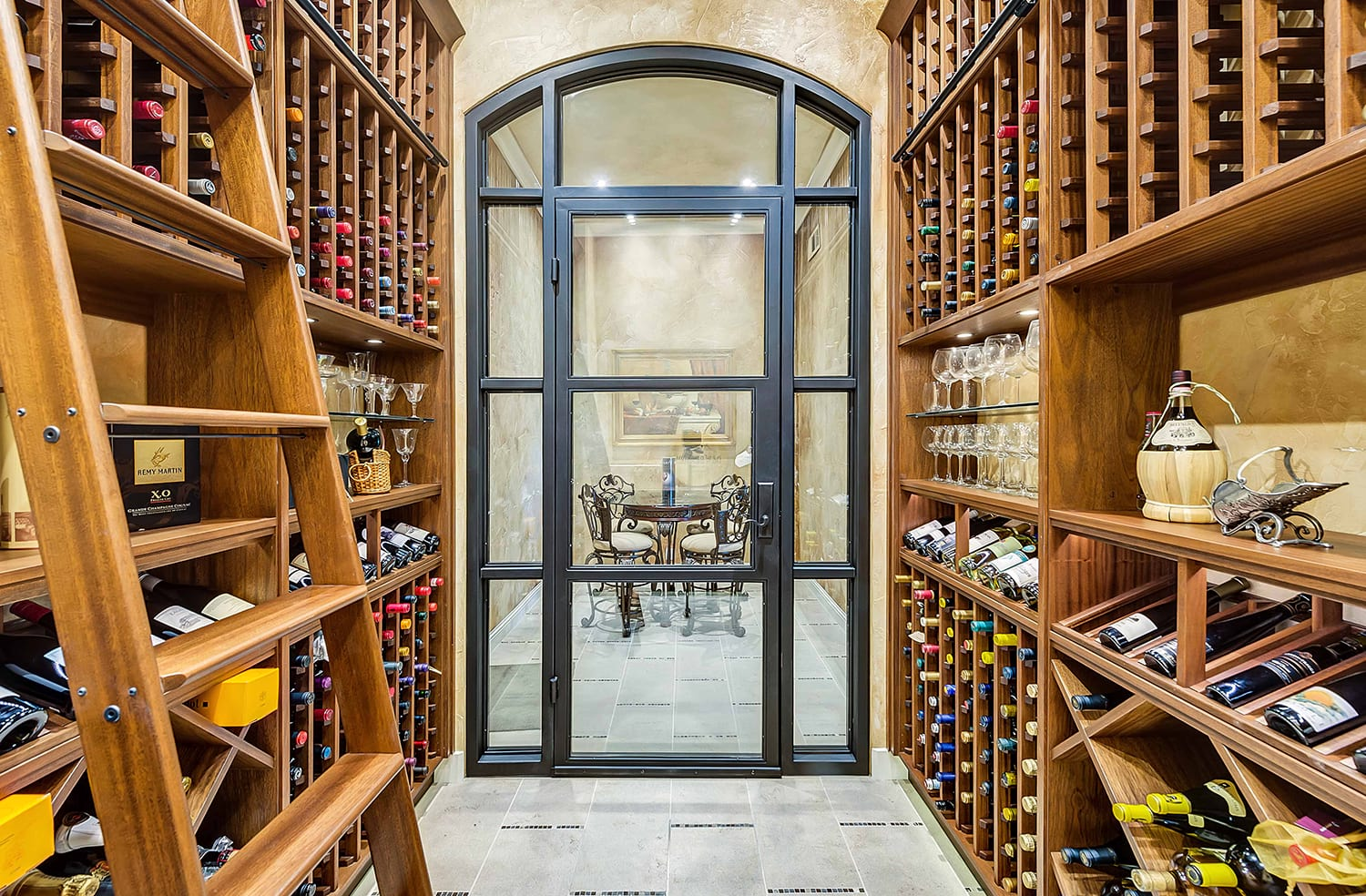 Dramatic Traditional Wood Wine Cellar in Texas