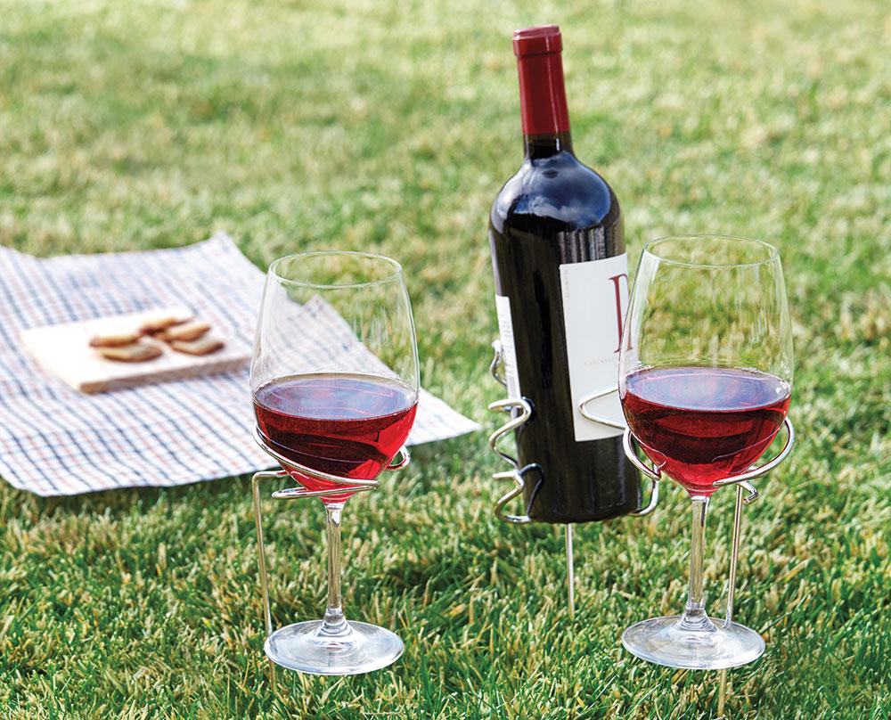Picnic Stix Wine Bottle and Glass Holders