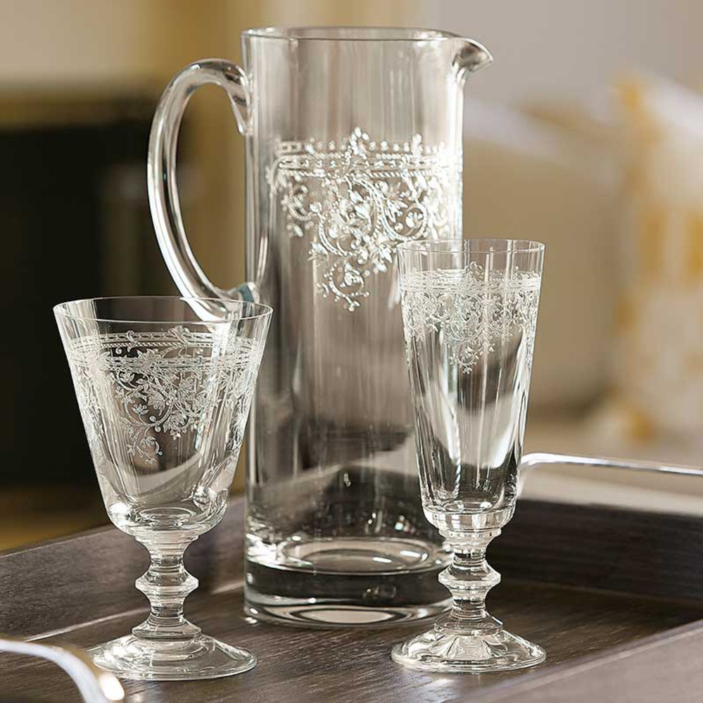 Etched Lucca Glass Pitcher
