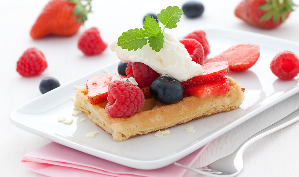 Strawberry Drenched Belgium Waffle