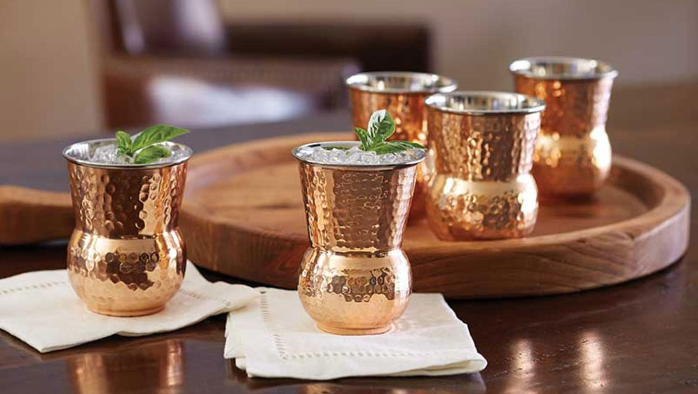 Hammered Copper Tuscan Tumblers