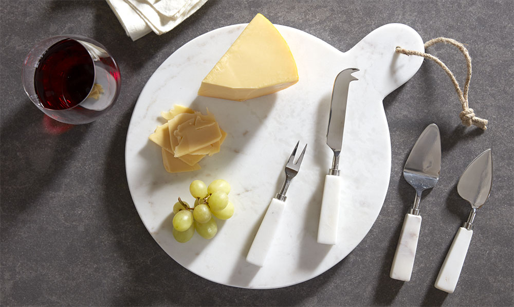 White Marble Cheese Serving Set