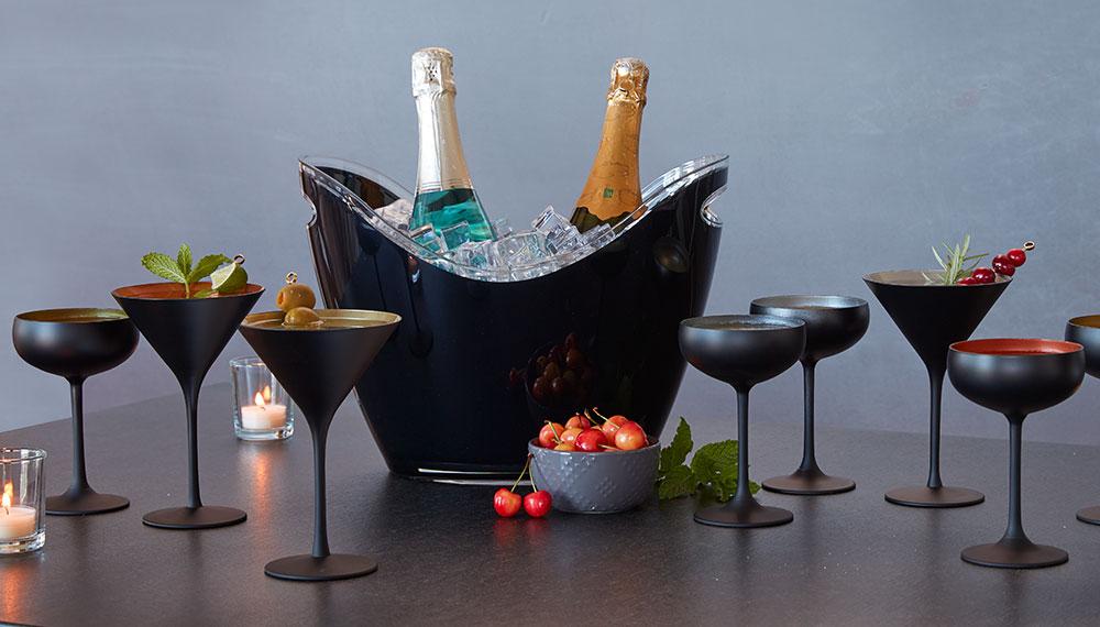Black and colored martini glasses