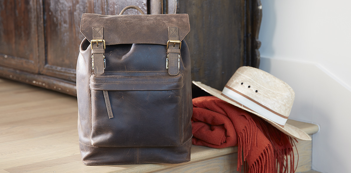 Brown Leather Wine Backpack