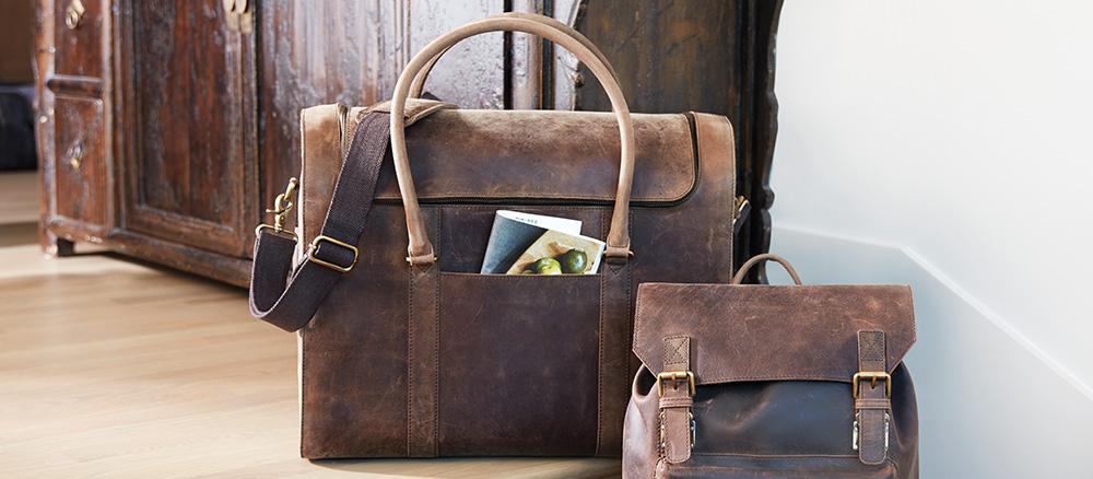 Leather Wine Duffel Bag