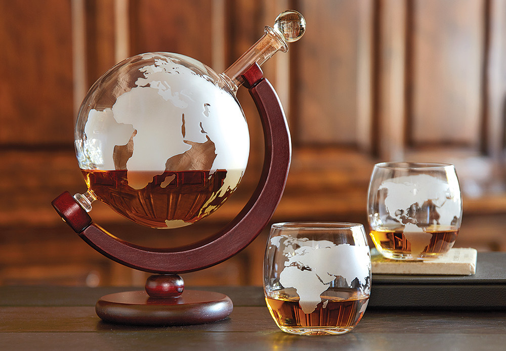 Etched Globe Whisky Decanter and Glasses Set