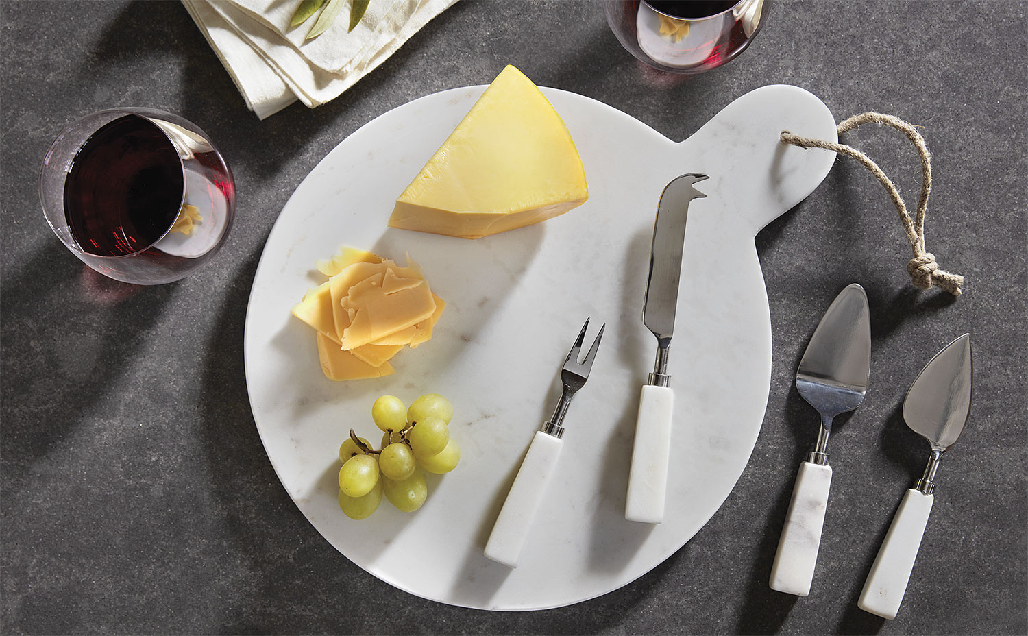 White Marble Cheese Set