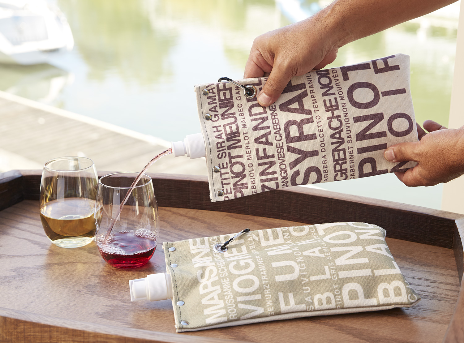 Canvas Wine Totes Red & White Set of 2 #15555