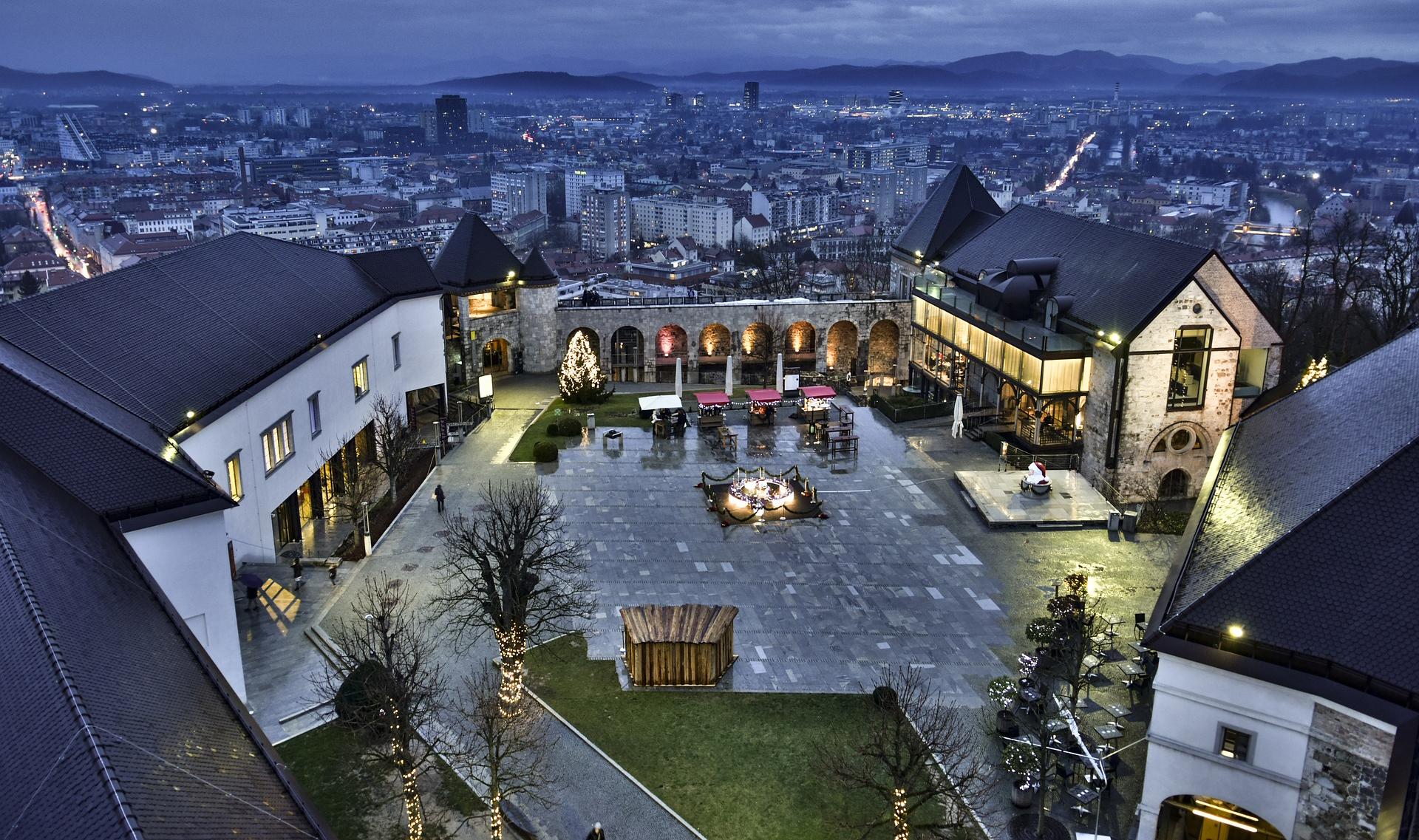 Ljubljana wine travel castle at night