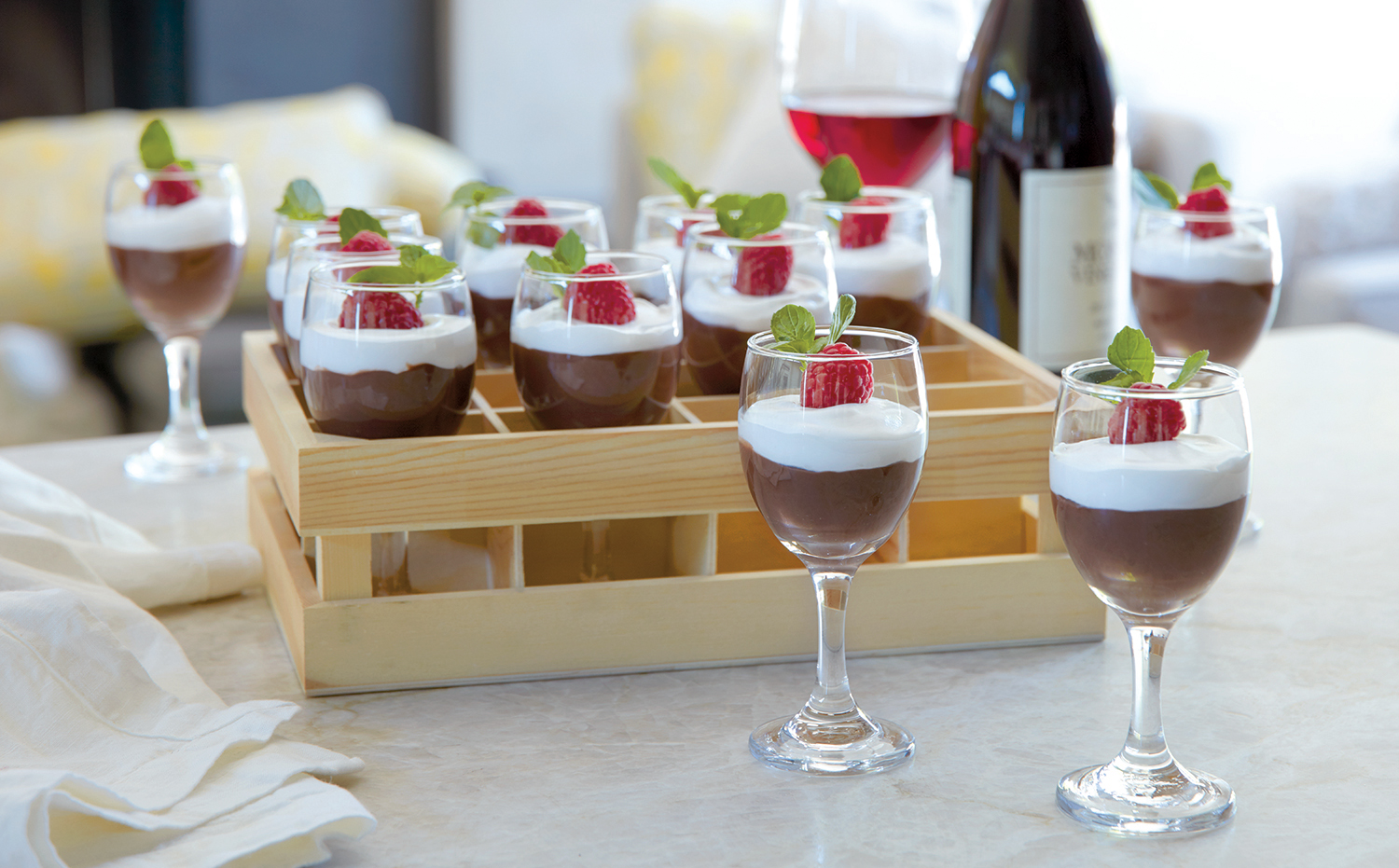 Mini Wine Glasses with Crate