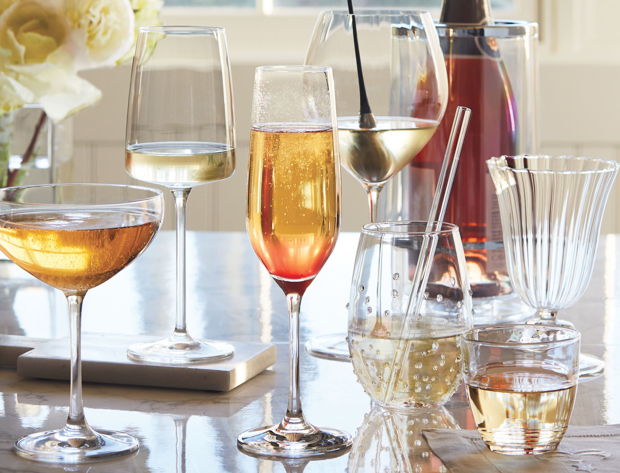 White & Sparkling Wine Glasses from IWA