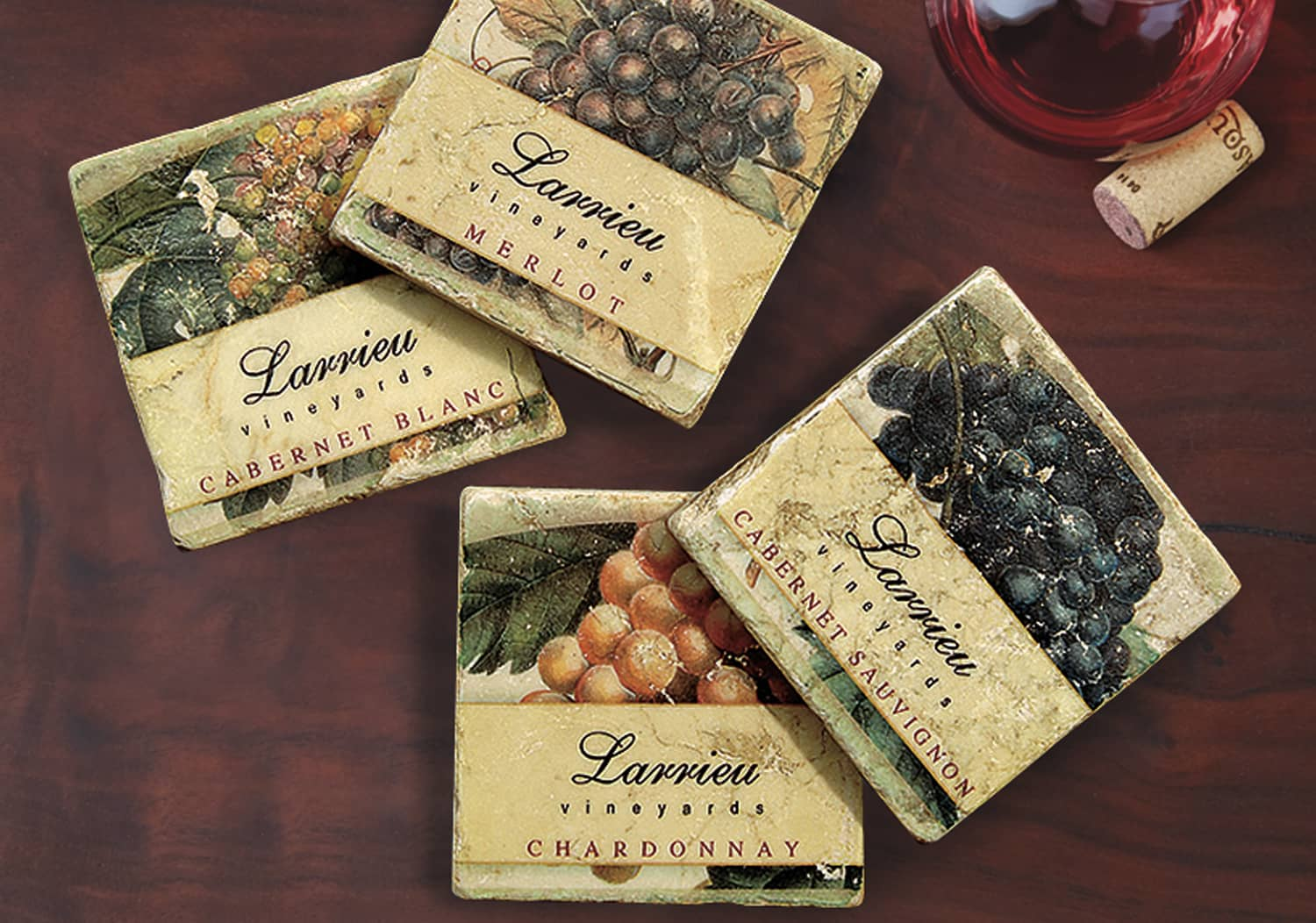 Personalized Marble Grape Coasters