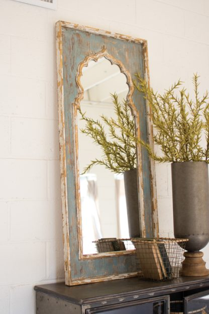 painted wooden mirror with mihrab