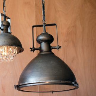 kalalou Metal Warehouse Pendant Light with Glass Cover