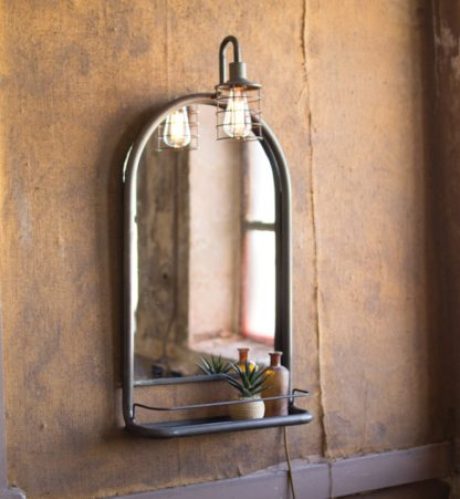 metal wall mirror with shelf and light
