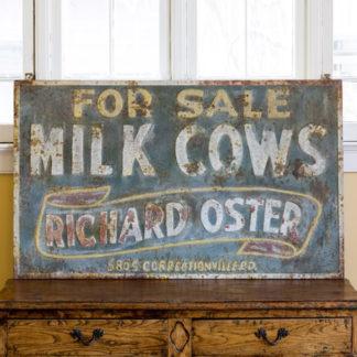 vintage metal milk cow sign