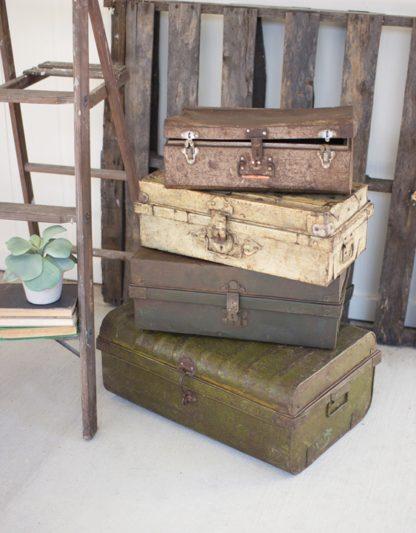 antique metal suitcases