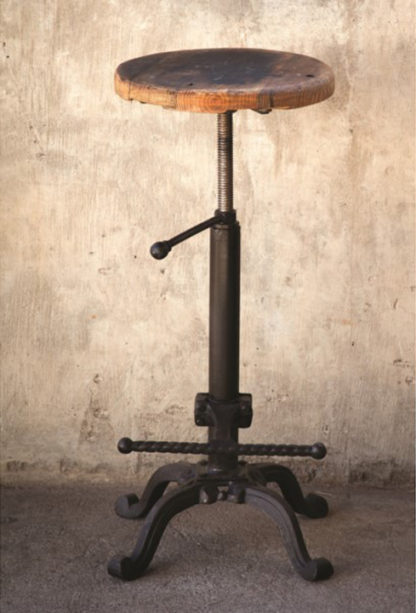 vintage barstool with adjustable wooden seat