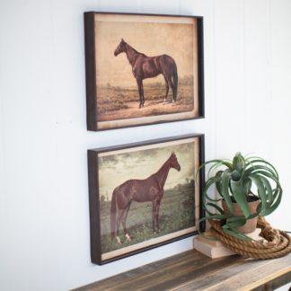 Framed Horse Prints Under Glass (Set of 2)