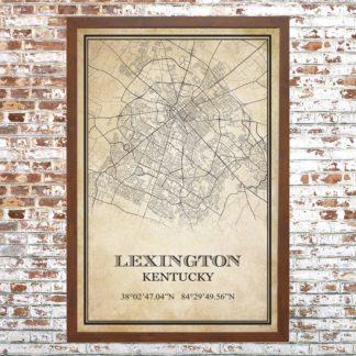 Distressed Lexington Map Print (Framed)