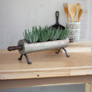 Galvanized Rolling Pin Planter