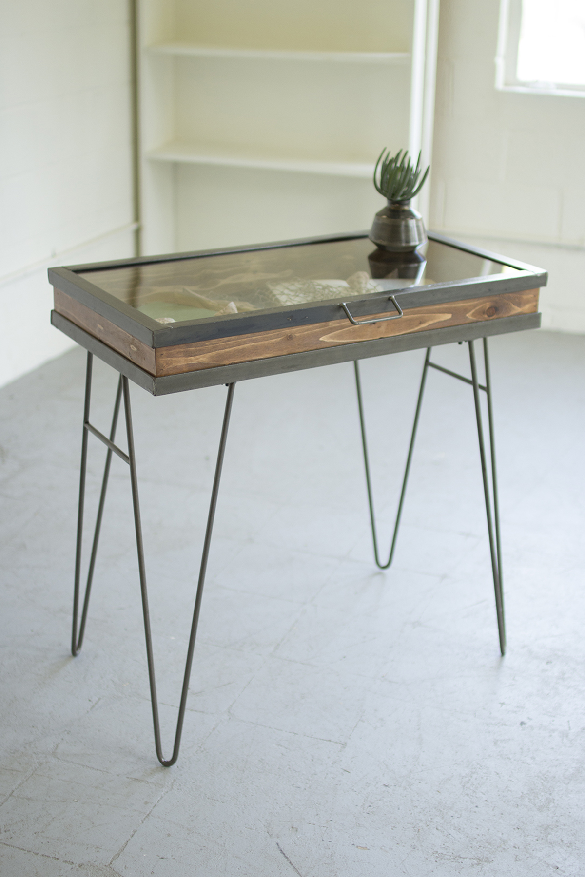 Display Table With Hinged Glass Top Relic Lexington