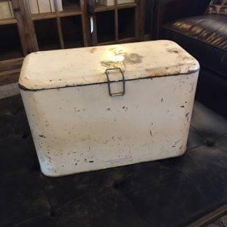 Vintage White Metal Travel Cooler