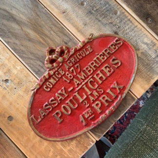French Cast Iron Sign (Red)